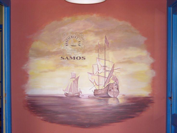 Nástěnná malba 160 x 160 cm - restaurace Samos Klánovice.