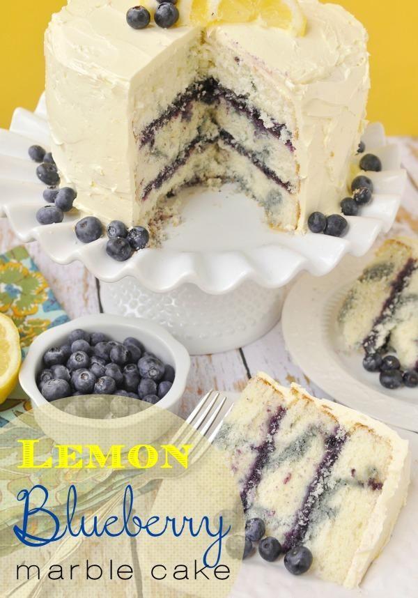 Lemon Blueberry Marble Cake Ingredients Cake 2 sticks butter, room temperature 2 C granulated sugar 2 tsp grated lemon zest 1 1/2 tsp lemon extract 7 egg whites 3 C cake flour 4 tsp baking power 1/4 tsp salt 1 1/4 C whole milk 1 13 oz. jar blueberry jam with lemon juice Frosting 1 C granulated sugar 1/4 C water 2 eggs 3 sticks ( 1 1/2 C) butter, room temperature 2 Tbsp freshly squeezed lemon juice 1 Tbsp grated lemon zest