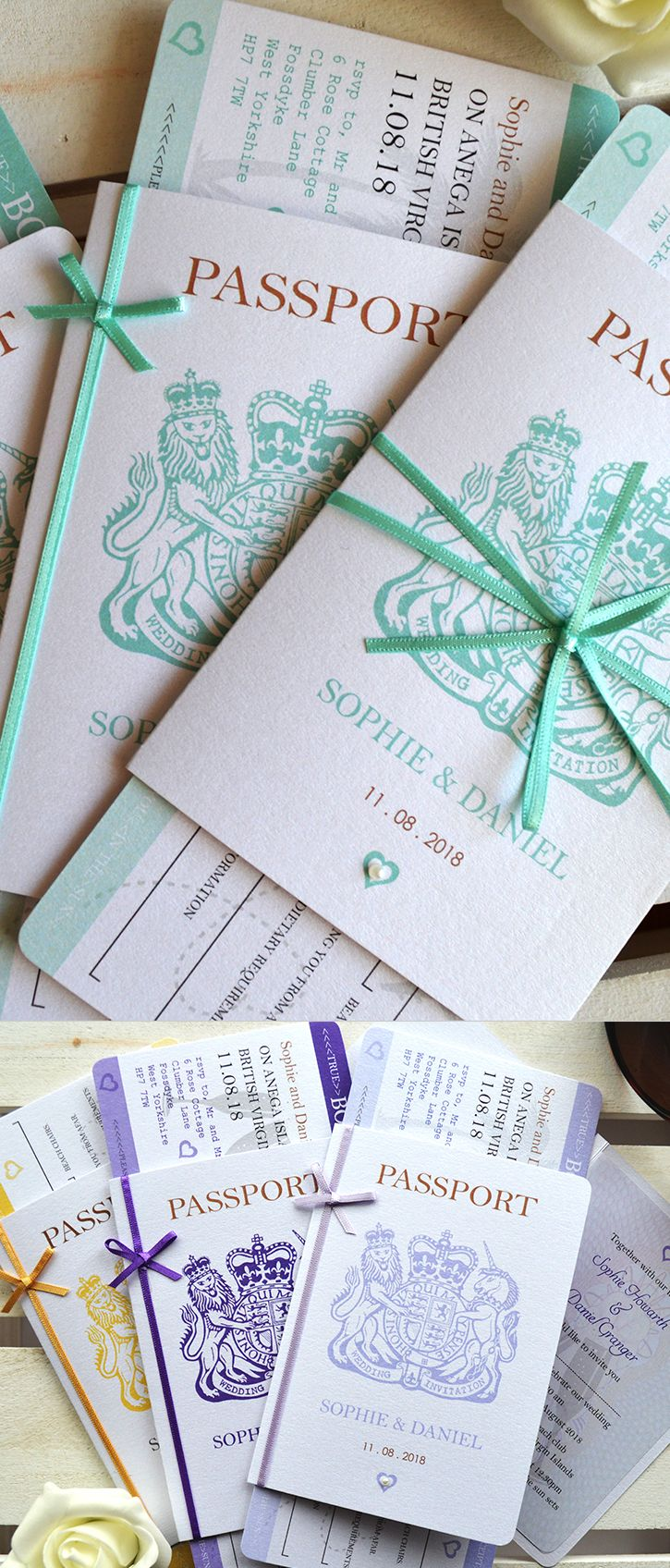 Bow – Passport Wedding Invitation with Boarding Pass RSVP- handmade -for weddings abroad and destination wedding- SAMPLE