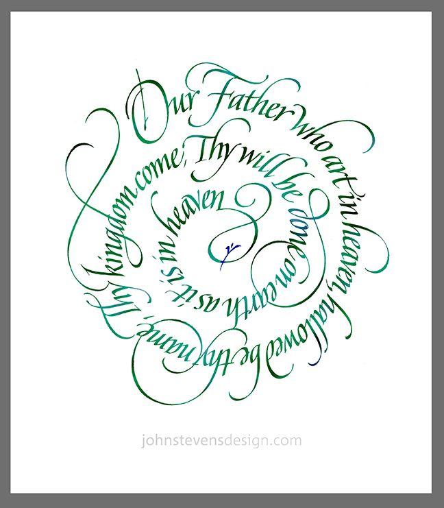 Spiral lettering written in 1995 by John Stevens. johnstevensdesign.com