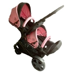 Duellette 15 Twin Tandem Pushchair complete with 2 seat units, and compatible with Britax Baby Safe Car seat. Comes complete with: 2 *Free rain covers*BLACK Chassis Black Midnight/PETAL PINK: Amazon.co.uk: Baby
