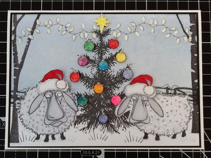 Hobby Art Baa-Humbug stamps, Cardio-Majestix Tall Trees and Stampendous Christmas Tree. Stickles Stardust on baubles and lights.