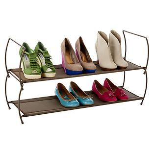 The Container Store > Bronze Carrie Stacking Shoe Shelf by Umbra®