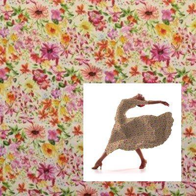 Tela popelín de algodón con estampado floral sobre un fondo crudo. Popelín flamenca sostenido y de tacto muy suave, ideal para la confección de trajes de sevillana, vestidos, camisas y faldas. http://www.aleko.kingeshop.com/Popelin-Primavera-dbaaaajEa.asp