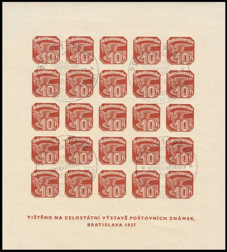 German Occupation II Worldwar, Böhmen und Mähren 1939, Mitläufer, Block zur Briefmarken-Ausstellung Preßburg, Kabinettstück mit 4 Abschlägen des seltenen 2-sprachigen schwarzen Sonderstempels von Prag, 20.4.1939 (Engel-Nr. 3 b) mit sehr ausführlichem Attest Kraus (gestempelt, Mi.-Nr.M Bl.2/ Mi.-Wert LP). Price Estimate (8/2016): 500 EUR.