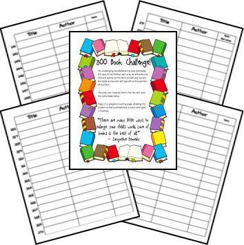 reading logs to encourage reading---might use during the summer to keep kids in the books, 100 book set and also a 300 book set
