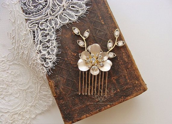 Delicate Floral Bridal Comb Ivory Wedding Headpiece by TanneDesign