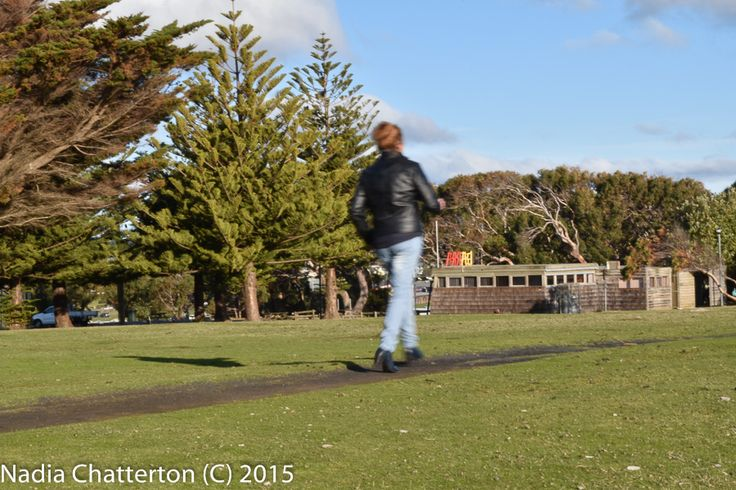"""L1M2AP2- Av Aperture priority (Slow Shutter Speed) • take a shot of a person running. """"Explore the effect of a blurred moving object against a sharp background"""" I believe I have nailed this, as this image clearly has a sharp crisp background and my Mum is blurred running along the footpath. Handheld, panning on the AF-C mode Nikon D5500, f/36 1/25sec ISO-200"""