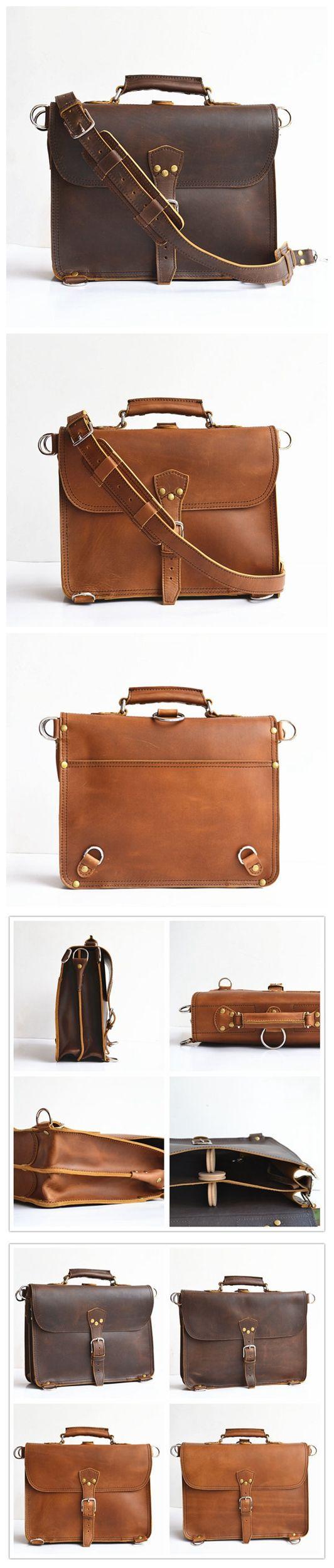 Handmade Mens Leather Briefcase Men Leather Backpack Thin Leather Bag for Men Leather Messenger Bag Leather Satchel Leather MacBook Bag