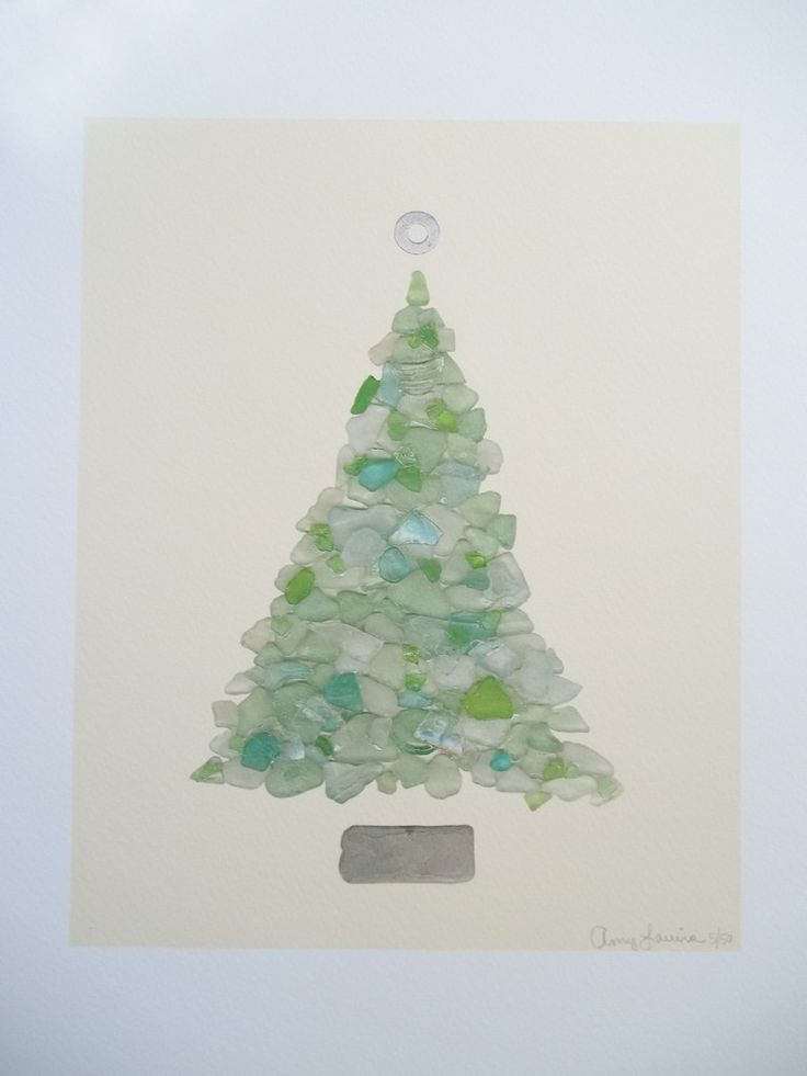 Turqoise Beach Sea Glass Tree 11 x 14 Unframed Print ~ Numbered & Signed