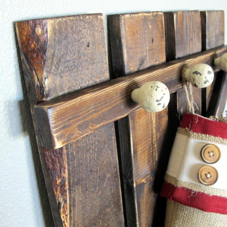 Rustic barn door gate coat rack christmas stocking holder