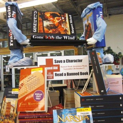 """After being assaulted on page after page by the n-word in Mark Twain's otherwise wonderful Huckleberry Finn, I'm rethinking my stand on book banning. I blogged September 22, 2014, with """"To ban or not, is that the question?"""" Image: HalfPrice Book's 2013 Banned Books Week display."""