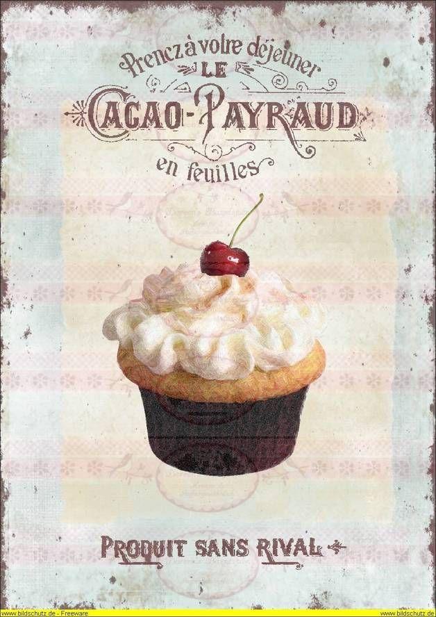DIN A4 Vintage Bügelbild Cupcake