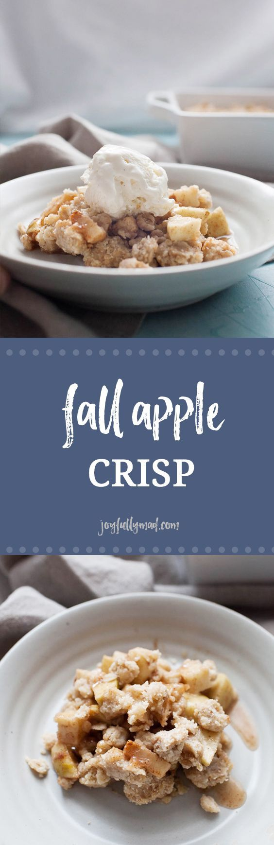 This fall apple crisp is an easy dessert that is perfect for any occasion this fall! Made with a mix of sweet and tart apples and topped with the perfect brown sugar oat crumble topping! It's best served warm with a scoop of ice cream but no matter how yo