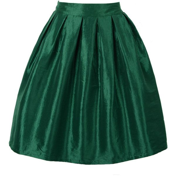 Green High Waist Skater Skirt ($18) ❤ liked on Polyvore featuring skirts, bottoms, high waisted skater skirt, green skirt, high-waisted skirts, high-waist skirt and circle skirt