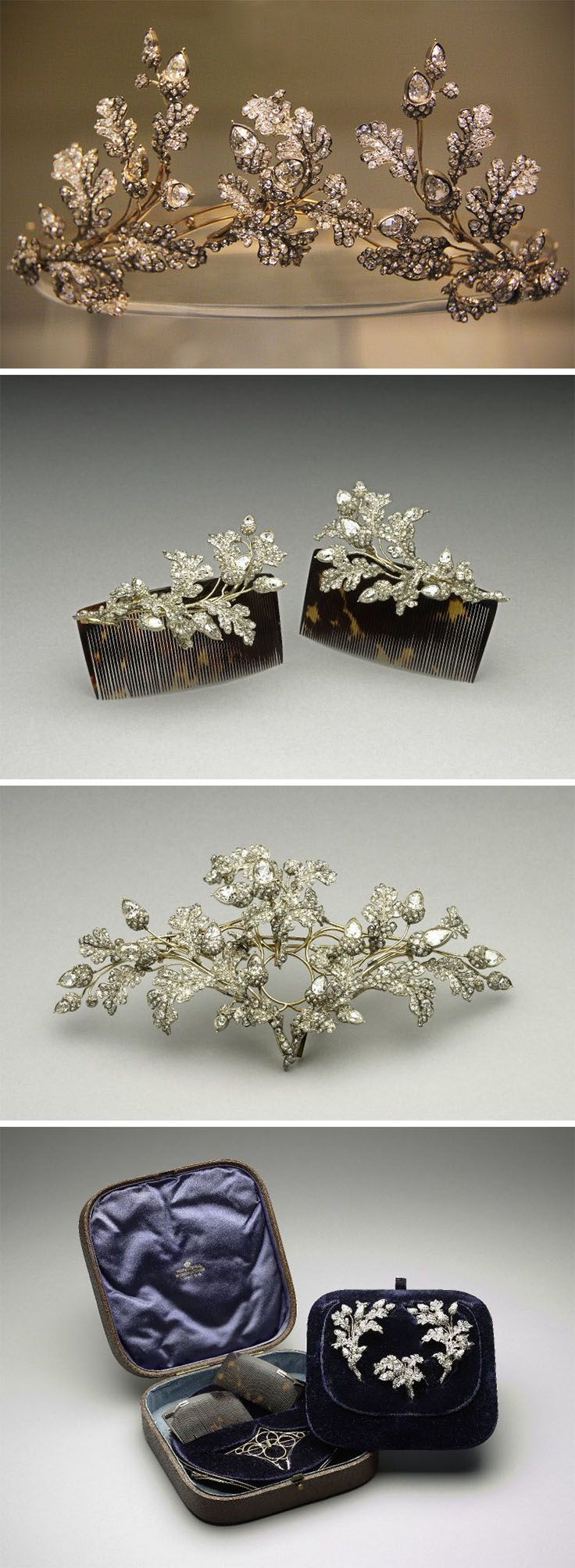 Tiara in three pieces in the form of branches of oak-leaves and acorns. ca. 1855. England. Silver and gold, open-back, set with diamonds and convertible to a brooch or to use as comb-mounts. In the original case labelled Hunt & Roskell. In the case are two tortoise-shell combs and gold frames for the tiara and brooch. The jewelled elements are interchangeable between the combs, the brooch-frame and the tiara. The lid of the case is stamped with a Viscount's coronet and the initials 'MP'.