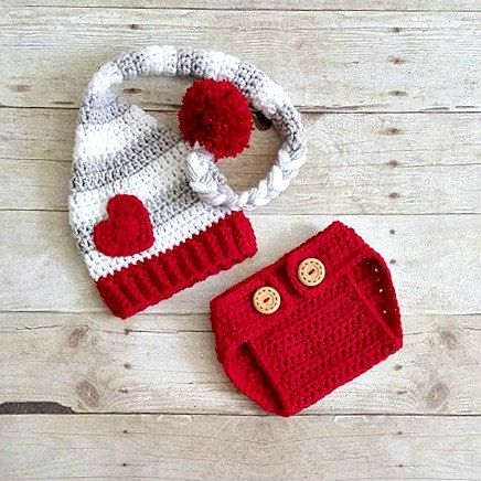 Crochet Baby Valentine's Day Heart Stocking by RedLollipopBoutique