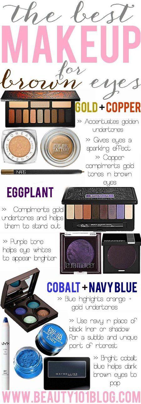 Best Makeup for Brown Eyes via blog #beauty101blog #makeuptips #beautytips