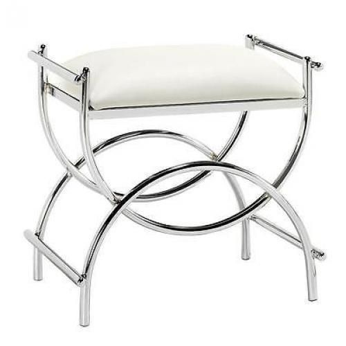 Make Photo Gallery Curve Chrome Vanity Bench PLTD STL CHROME This bench offers the perfect place to get ready for the day It features elaborate lines and a sleek