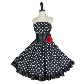 Retro 1950s Style Strapless Polka Dot Party Prom Dress Small 4 / 6 ...Many Sizes Available!
