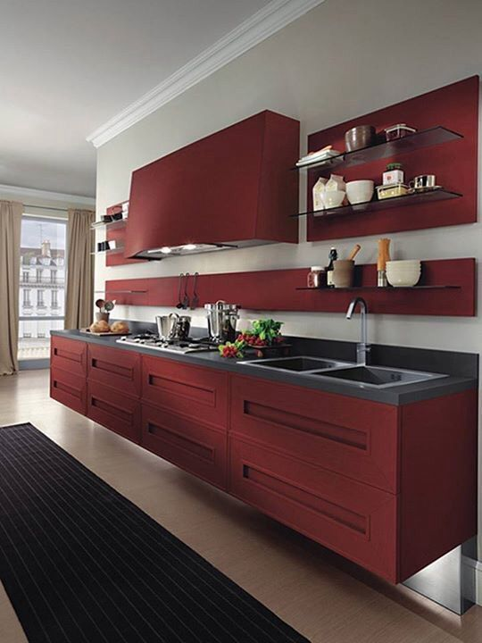 Marsala kitchen. The rich red merlot color makes food more appetizing and it is a more mature color great for a person who entertains a lot.