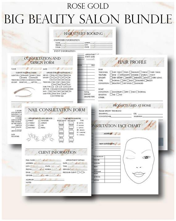 Rose Gold Big Beauty Salon Bundle  Makeup Artist: ► Consultation Face Chart ► Makeup Permission Form Card ► Makeup Artist Booking Form ► Bridal Makeup Contract Template - Editable Word  Hair Stylist ► Coloring and Styling Sheet ► Hair Profile Page ► Hair Stylist Booking Form for