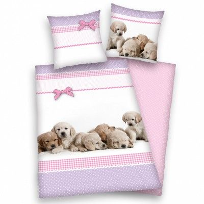 Kutyusok, rózsaszín ágynemű huzat garnitúra