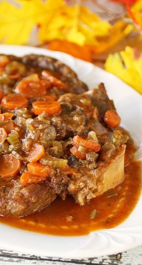 Shank Cut Osso Buco - Shank Cut Osso Buco is cooked long and slow in a delicious wine tomato broth with lots of carrots, celery, onions and fresh herbs. Recipes Food and Cooking #SundaySupper #beef
