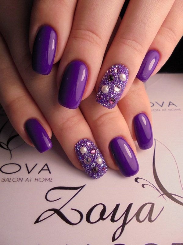 This lady also have chosen royal purple shade and complement it with the  various rhinestones! - 45 Purple Nail Art Designs Nail Art Nails, Nail Art Designs