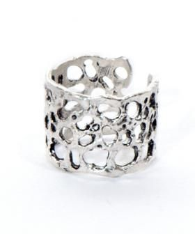Silver plated lava adjustable ring.