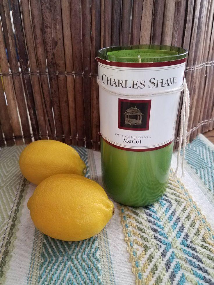 $28 Fresh Lemon Candle, Lemon Verbena, Handmade Candle, Scented Soy Candle, Wine Bottle Candle, Recycled Bottle Gift, Charles Shaw Wine Bottle by EKPcreations on Etsy