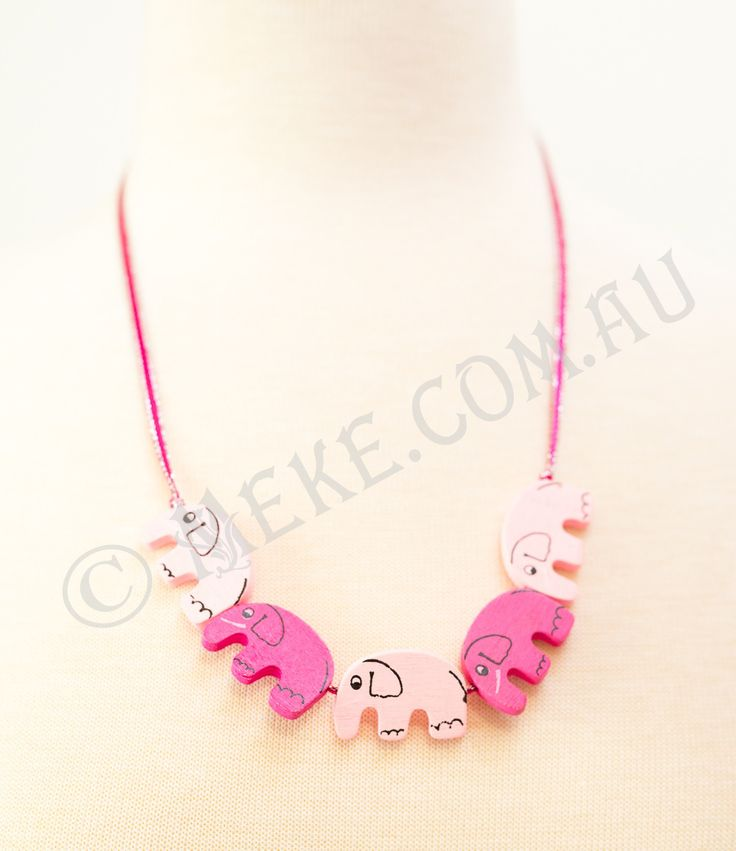 : : Seeing Pink Elephants Necklace : :  A stampede of the most adorable kind, this handcrafted children's necklace features bright pink and pastel pink timber elephant beads parading along a matching bright pink and silver ribbon. Super cute!!!  Visit my Etsy store for more info, or to purchase: https://www.etsy.com/au/listing/153865674/seeing-pink-elephants-childrens-necklace?ref=shop_home_active  Handmade with love and care by Marianne ❤