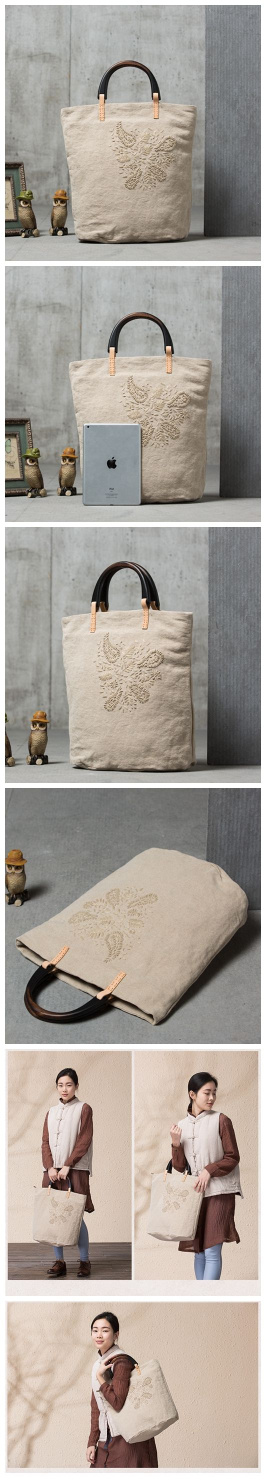 Original Cotton and Linen Tote Bag Handbag for Women Vintage Shoulder Bag Hand Embroidery YY02 -------------------------------- - Cotton and Linen, Wooden Handle - Cotton lining - Inside one zipper po