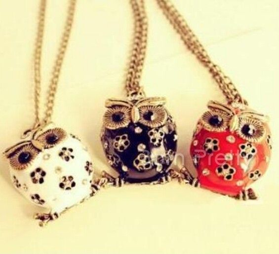 $1.67 1Pc Cute Owl Pendant Design Necklace Big Eye Owl Mini Flower Decor Sweater Chain Necklace - BornPrettyStore.com