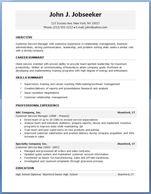 resume examples for experienced professionals