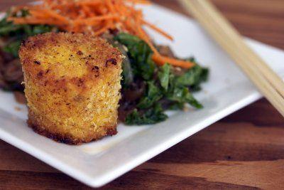 Panko Crusted Tofu Medallions w/ Kale & Carrot Shirataki Noodles - Vegan: Vegetarian Food, Vegan Recipes, Carrot Shirataki, Tofu Medallions, Crusted Tofu, Shirataki Noodles, Kale Salad, Vegetarian Recipes