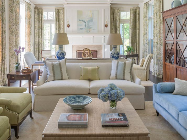 Living Room In Soft Blues Greens
