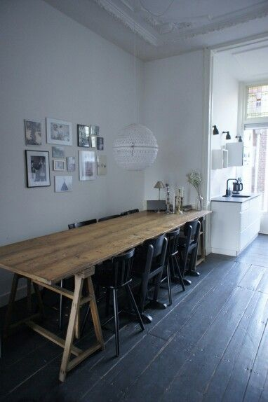 Kitchen with large antique family table. Interior styling at www.maisonlapin.nl