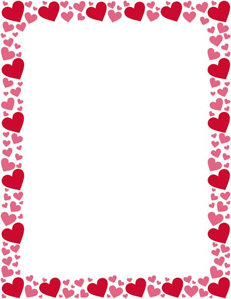 Printable red and pink heart border. Free GIF, JPG, PDF, and PNG downloads at http://pageborders.org/download/red-and-pink-heart-border/