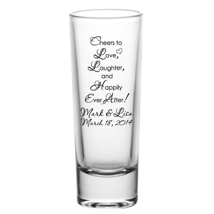 24 Personalized Wedding Favors 2oz Tall Glass Shot Glasses Custom Wedding Favor by Factory21 on Etsy