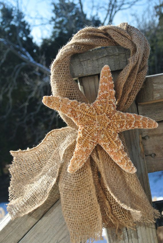 Beach Chair Decor, Starfish & Burlap Beach Wedding Decor, Nautical Themed Decor, Bridal Shower, Bachelorette Party, 2pcs via Etsy
