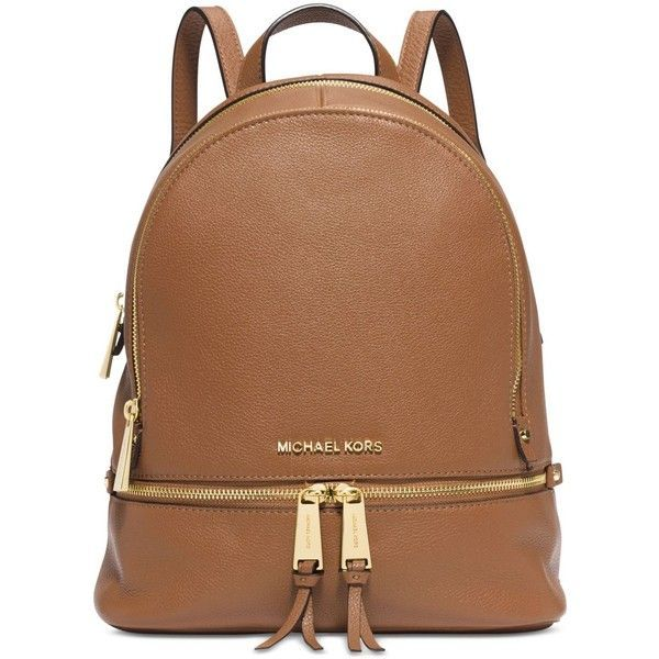 Michael Michael Kors Rhea Zip Small Backpack ($298) ❤ liked on Polyvore featuring bags, backpacks, acorn, tote handbags, brown tote bag, zip tote, michael kors bags and zippered tote