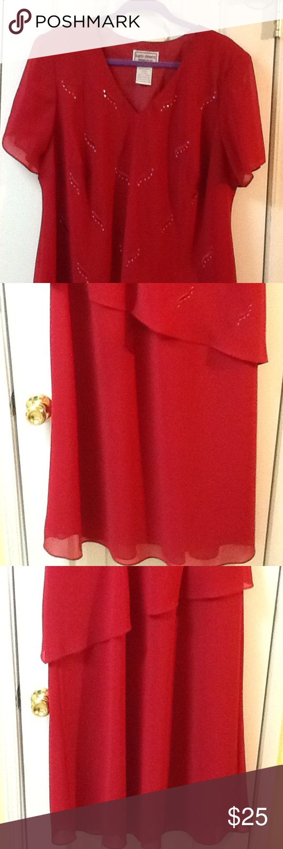 """Red Size 20W P Evening Dress Vintage Easy care size 20w women's polyester dress. Pullover style. Top is a little cover. In good condition. Long. Very slimming. 44"""" bust, 44"""" waist,  48"""" hips, 50"""" long. Fully lined. Karen Stevens Petite  Dresses Maxi"""