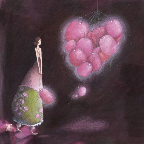 """Gaëlle Boissonnard square card """"Un coeur de lampions"""""""