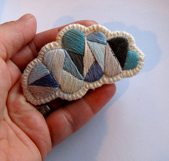 // Gray cloud geometric brooch hand embroidered by AnAstridEndeavor, $25.00