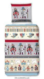 Bettwäsche 135x200 cm Baumwolle Kinder Ritter Burg Rüstung Jungen grau bunt