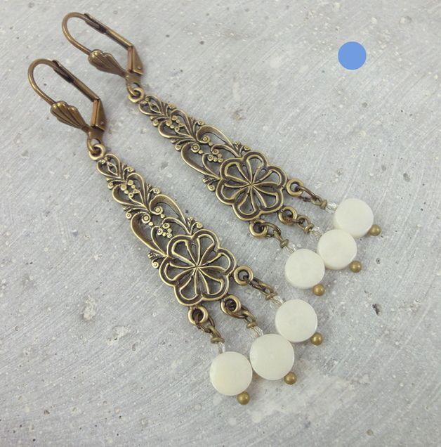 Koraal - oorbellen witte steen koraal - Een uniek product van onika op DaWanda