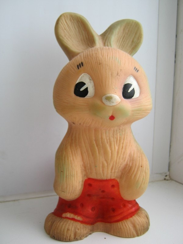Vintage soviet USSR rubber toy hare, rabbit