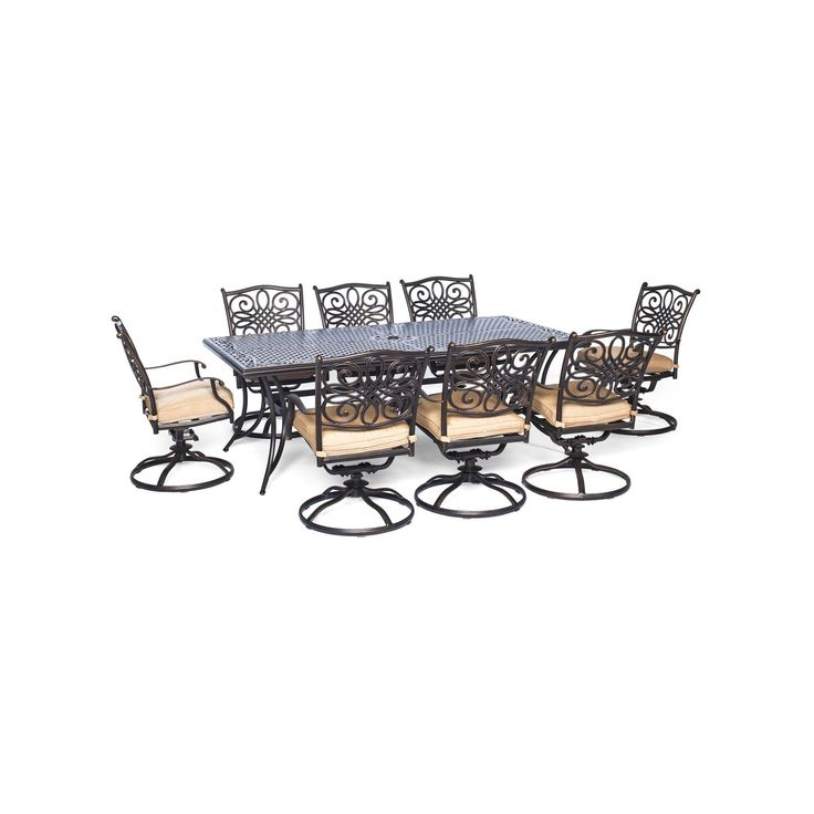 """Hanover Traditions 9-Piece Dining Set with Eight Swivel Dining Chairs and a Large Dining Table - 84"""" x 42"""", Light Off-White"""