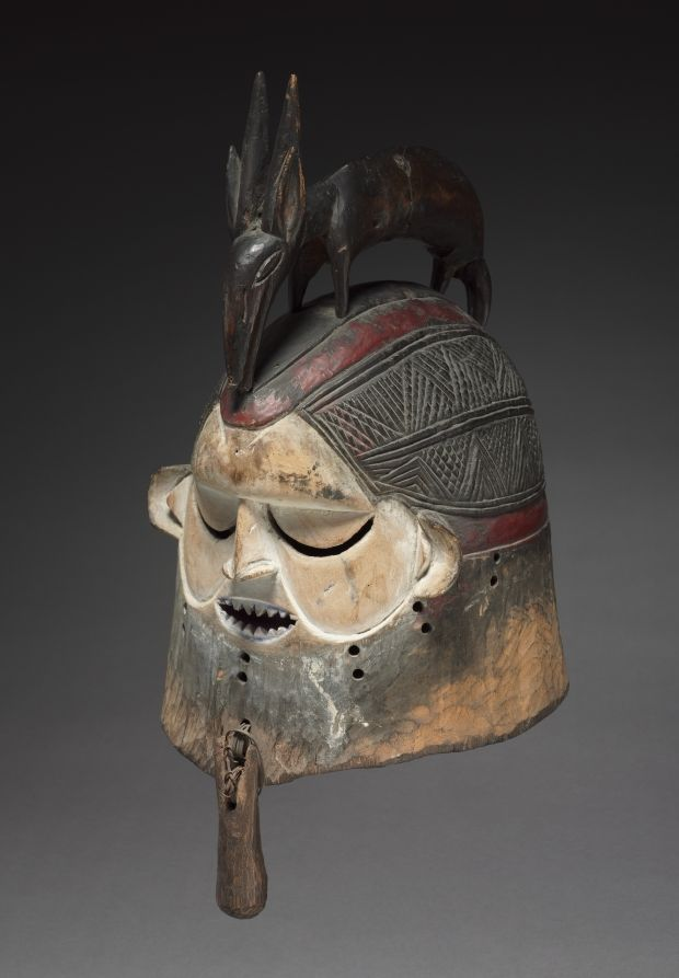 Helmet Mask, late 1800s-early 1900s Central Africa, Democratic Republic of the Congo, Suku people, late 19th-early 20th century wood, basketry reed, metal, Overall - h:50.00 w:25.00 d:27.20 cm